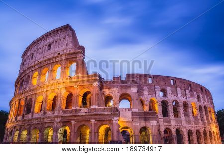 Roman Colosseum After Sunset In Colorful Long Exposure