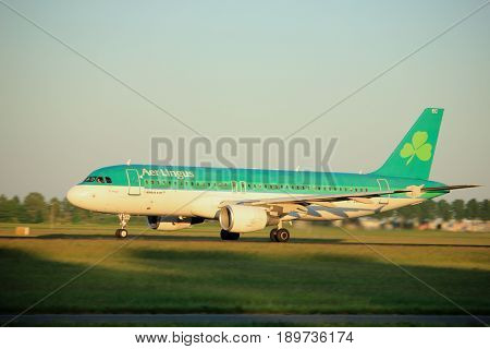Amsterdam the Netherlands - June 2nd 2017: EI-DEC Aer Lingus Airbus A320 taking off from Polderbaan Runway Amsterdam Airport Schiphol