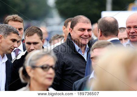 Orel Russia September 5 2015: Vadim Potomsky Orel governor smiling selective focus