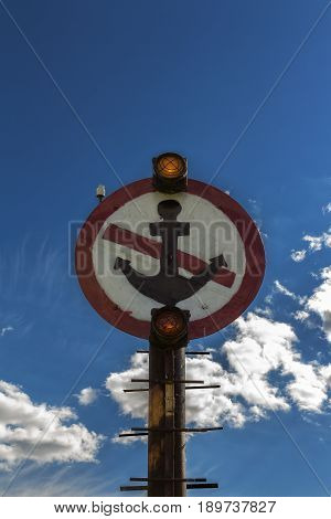 No Anchor sign, sign with anchor, warning sign, sign on blue sky background