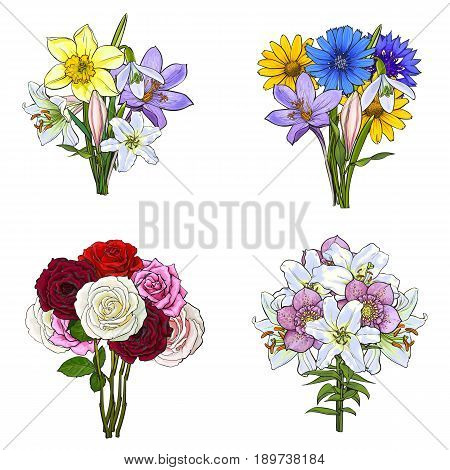 Bouquets, bunches of lily, rose, daffodil, cornflower, daisy, wild and garden flowers, sketch vector illustration isolated on white background. Hand drawn realistic flowers in bouqets and bunches