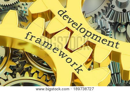 development framework concept on the gearwheels 3D rendering