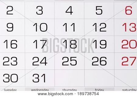 Calendar fragment shaped sheet with numbers in squares