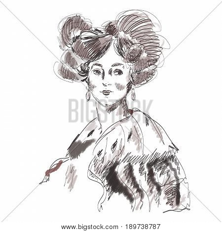 Hand drawn graphic portrait an imaginary young woman in style of early 19th century. Hairstyle with whipped hair and curls. Ball gown with mantle. Attractive beautiful face. Vintage style. For prints.