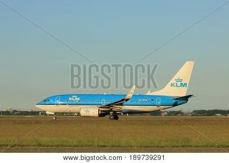 Amsterdam the Netherlands - June 1st 2017:PH-BGU KLM Royal Dutch Airlines Boeing 737-700 taking off from Polderbaan Runway Amsterdam Airport Schiphol
