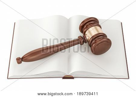 Opened blank book with gavel 3D rendering isolated on white background
