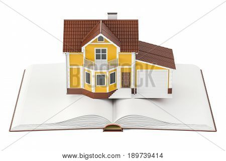 Opened book with house 3D rendering isolated on white background