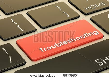 Troubleshooting concept red hot key on keyboard. 3D rendering