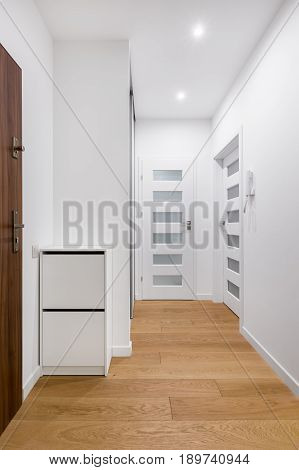 White Entryway With Wooden Floor