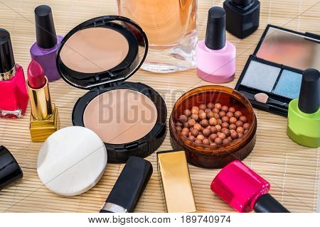 Different Makeup Products  -  Lipstick, Eye Shadows, Nail Polish, Powder