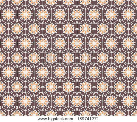 Seamless texture with arabic geometric ornament. Vector mosaic hexagonal pattern