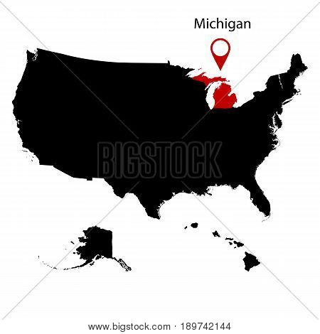 map of the U.S. state Michigan on a white background