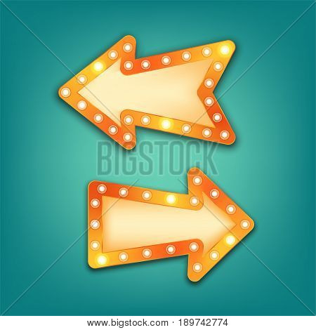 Neon marquee vector retro arrow sign with light bulbs. Realistic 3d for casino theater cinema vintage cafe.