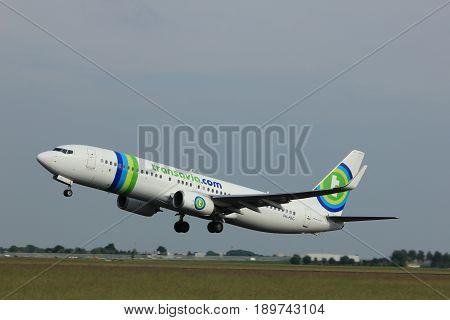 Amsterdam the Netherlands - June 2nd 2017: PH-HSG Transavia Boeing 737-800 taking off from Polderbaan Runway Amsterdam Airport Schiphol