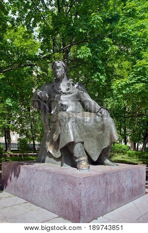 Moscow Russia - June 4 2017: Monument to Ivan Krylov in the summer garden near Patriarchal ponds in the picturesque district of Moscow