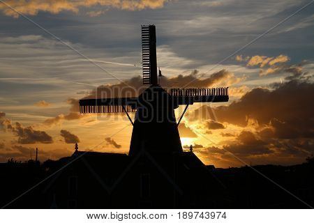 Historic Windmill named Traanroeier at Oudeschild Texel