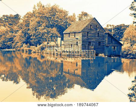 A waterscape vintage view of Yates Millpond Park in Raleigh North Carolina.