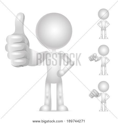 Character blank fist pointing finger thumb up like isolated icons set render design vector illustration