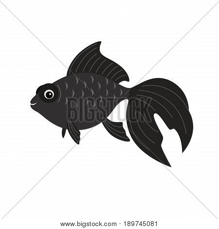 Telescope fish isolated on white background. Vector freshwater creature.