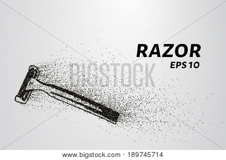 Razor Of Particles. Razor Consists Of Small Circles And Dots. Vector Illustration.