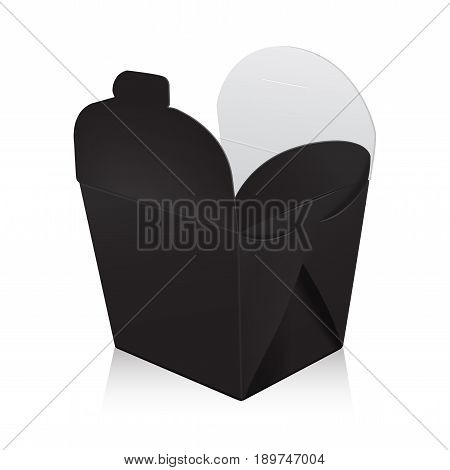 Open black blank wok box mockup. Vector 3d packaging. Carton box for asian or chinese take away food paper bag for your design