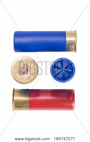 cartridges for hunting rifle concept on white background