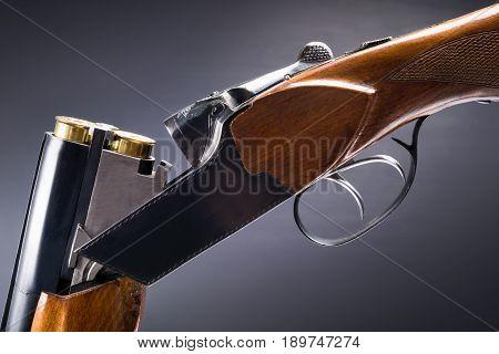 Beautiful old gun against a dark background