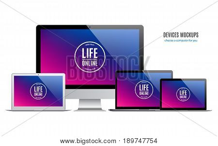 mockup devices: laptops and computer monitor with multicolor screen isolated on white background. stock vector illustration eps10