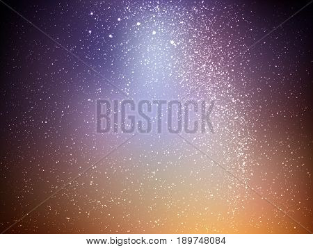 Space vector background with stars. Universe illustration. Colored cosmos backdrop with stars claster. Brown and blue colors.