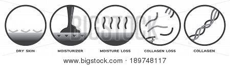 skin icon and vector - collagen dry moisturizer moisture