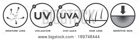 skin icon and vector part 2 / uv a b moisture loss hair