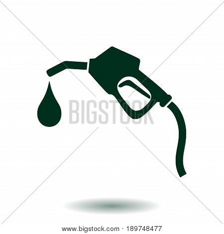 Gasoline pump nozzle sign.Gas station icon. Flat design style.