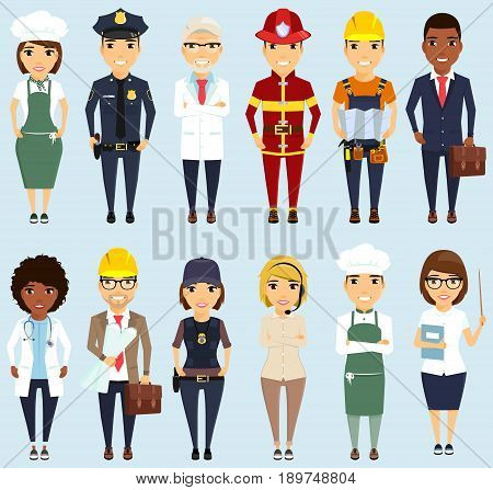Set of different professions. Boys and girls. Different ethnically. Professionals. Doctor, teacher, policeman, engineer, Builder, chef, fireman, businessman.