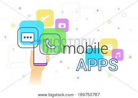 Mobile apps on smartphone concept illustration. Human hand holds smart phone with popular apps such as messenger, voice call, camera, e-mail. Applications and modern lifestyle. Creative banner for web
