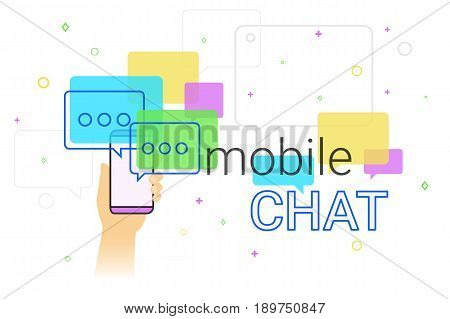 Mobile chat and messenger on smartphone creative concept illustration. Human hand holds smart phone with line speech bubbles and text. Texting messages each other via internet and modern lifestyle.