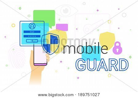 Mobile guard app on smartphone concept illustration. Human hand holds smart phone with anti hacker app for internet protection and web safety. Security applications and modern lifestyle