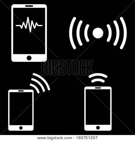 Mobile Signal vector icon set. Collection style is white flat symbols on a black background.