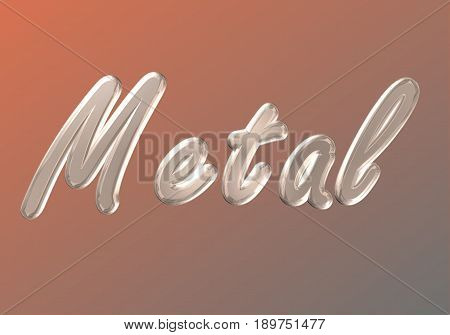 word on metal background brown metallic color metal type