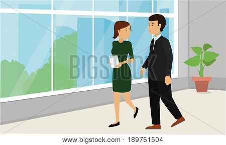 Business people walking down in office corridor and talking. Businessman and Businesswoman Corporate Conceptual illustration vector.