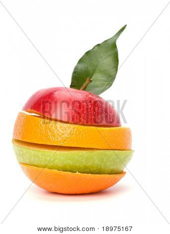 sliced fruits isolated on white background