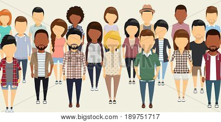 A group of people in flat style. Different ethnically. Different clothes and hairstyles. Depicted without faces.
