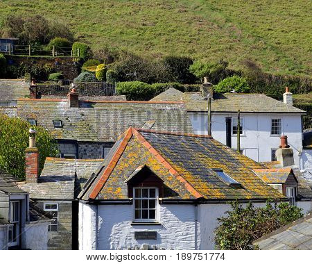 The rooftops of the picturesque Cornish fishing village of Padstow famous for being the location of Doc Martin