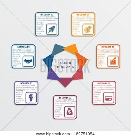Colour triangles modern infographic template for business concept with 7 steps.