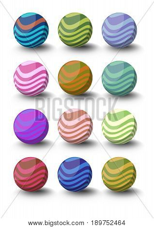 Set of spheres with waves in different color variants with shadow in 3d design.