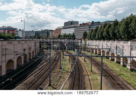 Copenhagen Denmark - August 10 2016. High angle view of train tracks nar station in Copenhagen city centre. The public transportation in Copenhagen is very reliable and punctual.