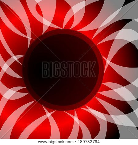 Abstract vector with theme solar eclipse. Wavy rays surround the black circle, in the background fiery glow