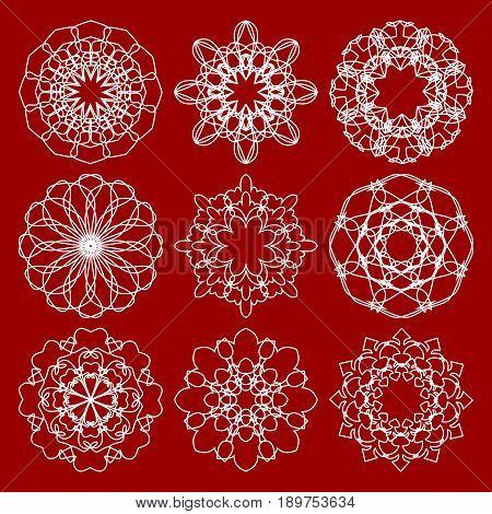 Set of trendy vintage monoline circle patterns. Geometric symmetric lace patterns in art deco design.