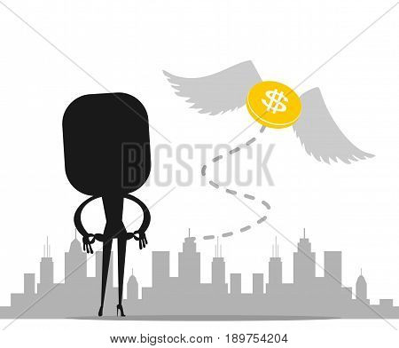 Cartoon character, Money flying away from the sadness business women., vector