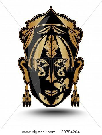 Gold ritual woman face iconic mask avatar