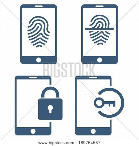 Smartphone Identification vector icon collection. Collection style is blue flat symbols on a white background.